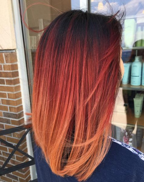 We can't take our eyes off this stunning, sunset ombre hair color by @eshackk of Montage Salon- Ridgeline. Aveda color formula in the comments.