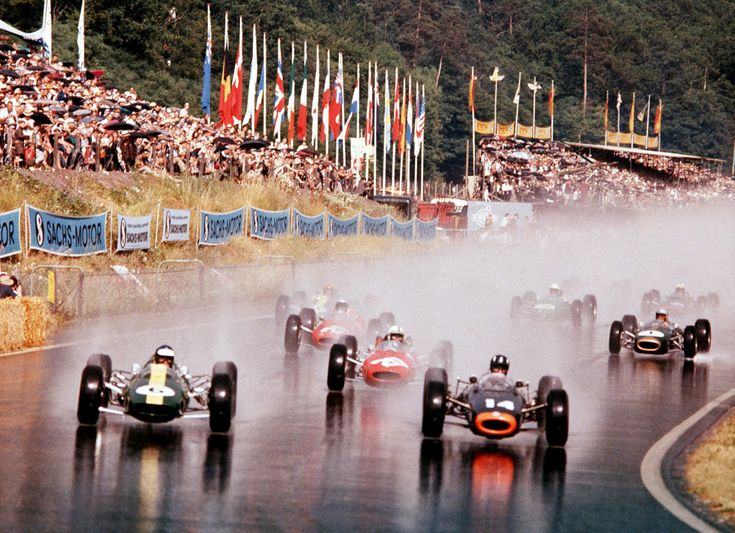 The Formula One drivers experience a rainy start of the 14th Solitude Grand Prix at the Solitudering in Stuttgart.