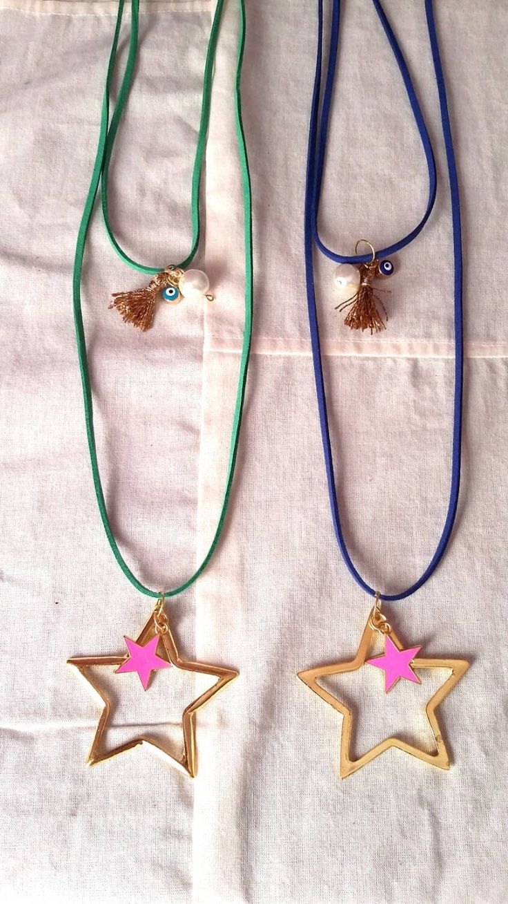"""Double Charm necklaces...... """"Take your lucky star"""" /ready to ship by KaterinakiJewelry on Etsy"""