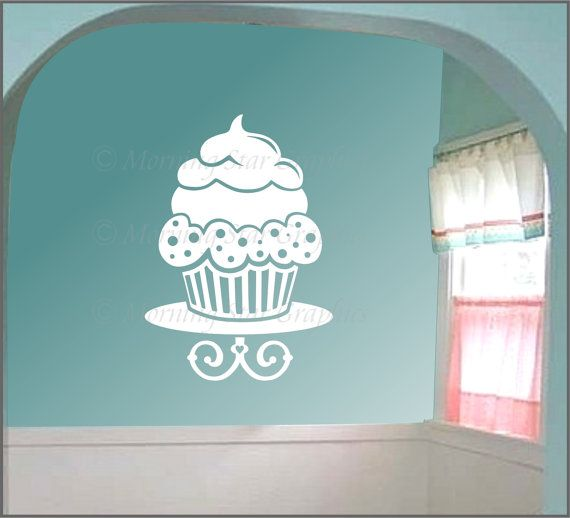 Front glass door    VINYL - LARGE CUPCAKE - Wall Art Decal. via Etsy.  would look soo cute in my kitchen!