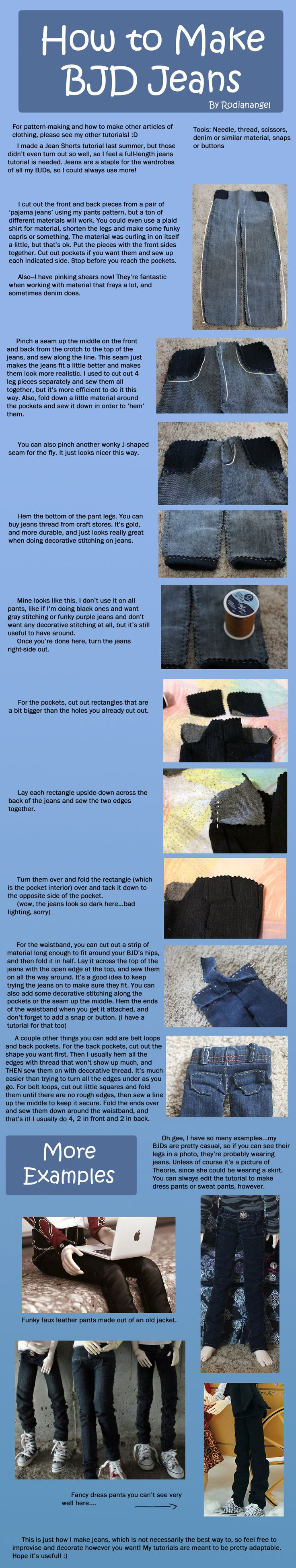 How to Make BJD Jeans by RodianAngel.deviantart.com on @deviantART