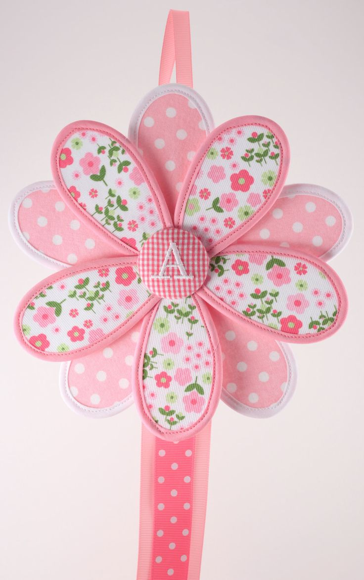 Hair Bow Holder Hair Clip Holder Pink Fabric Flower by GirlieQs, $20.00