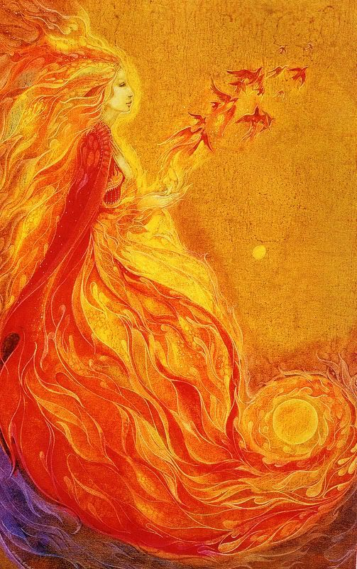 "//""Every moment, a voice out of this world, calls on our soul to wake up and rise."" —Rumi (Art: ""Firebird"" by Susan Seddon Boulet) ..*"