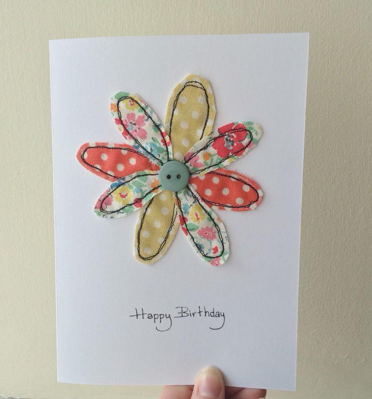 Handmade free motion machine embroidery birthday card | made by hollyyork