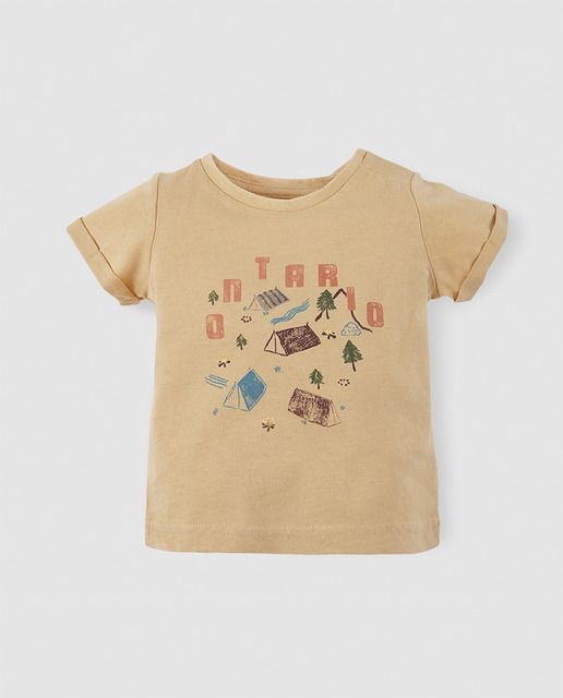 1ae8ae189 Camiseta de bebé niño amarilla de campamento
