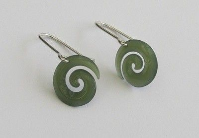 Greenstone Jade Koru Earrings, From NZ - Auckland - List Sell Trade