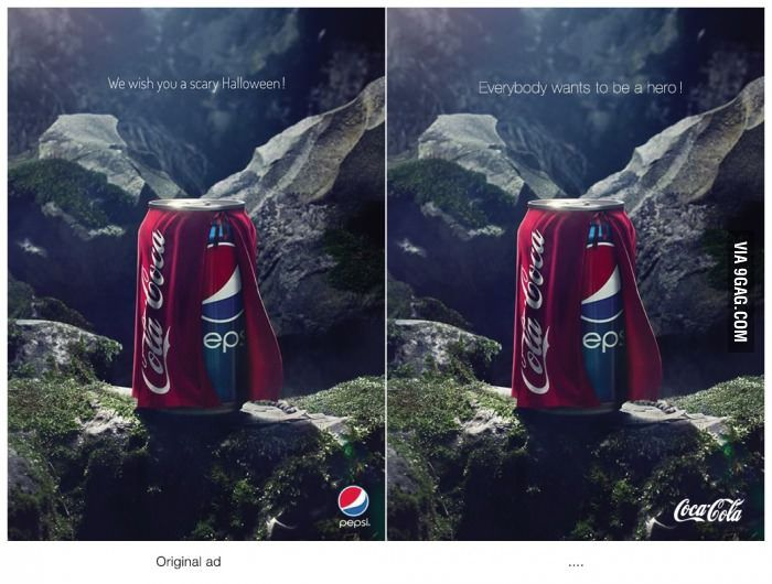 Pepsi originally thought they had Coke beat with this Halloween ad, but Coke's unofficial response is actually much, MUCH better than Pepsi's original concept.