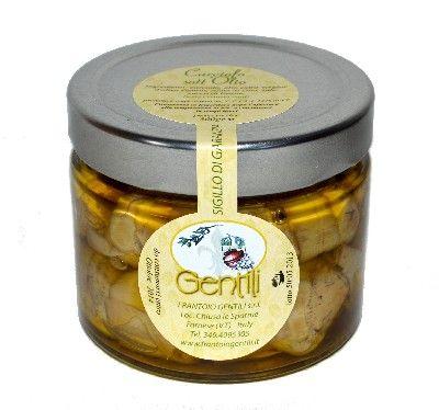 Carciofi. Vasetto da: 300 gr Carciofi con olio extravergine Gentili, aceto di vino, sale e succo di limone.
