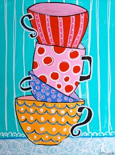 stacked mugs - I keep collecting ideas for this Starbuck's -coffee-kind-of-art-project I've got brewing!  Jeanette Carlstrom has wonderful, whimsical art on her page!