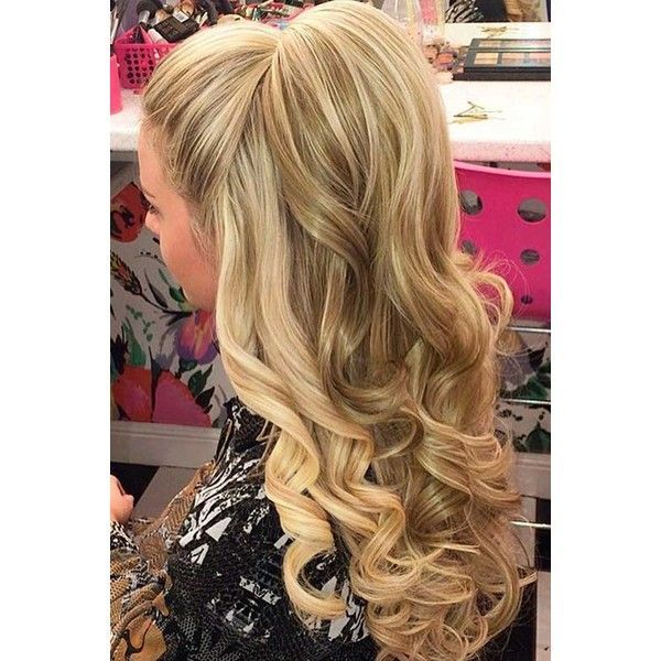15 Nice Holiday Half Up Hairstyles for Long Hair   LoveHairStyles.com ❤ liked on Polyvore featuring beauty products, haircare, hair styling tools, hair and hairstyles