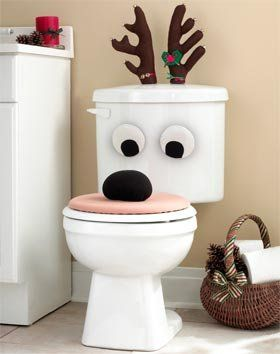 Christmas Holiday Reindeer Bathroom Toilet Seat Set Lid Antlers Eyes: