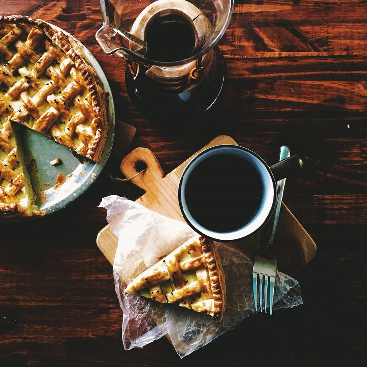 Homemade sweet potato pie with coffee. The pie is made with Japanese sweet potatoes (yams)