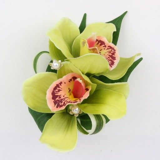 corsage with orchid   Artificial Silk Wedding Flowers - Green Cymbidium Orchid Corsage
