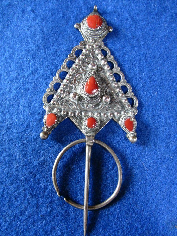 Bijoux Algerie Argent : Ancien bijou berbere grande fibule argent ancienne