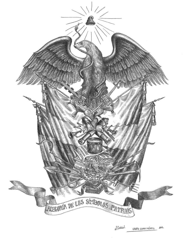 Alegoría de Los Símbolos Patrios Mexicanos. Boceto, lápiz sobre papel. GRUPO EDAM MÉXICO. Abril 2013