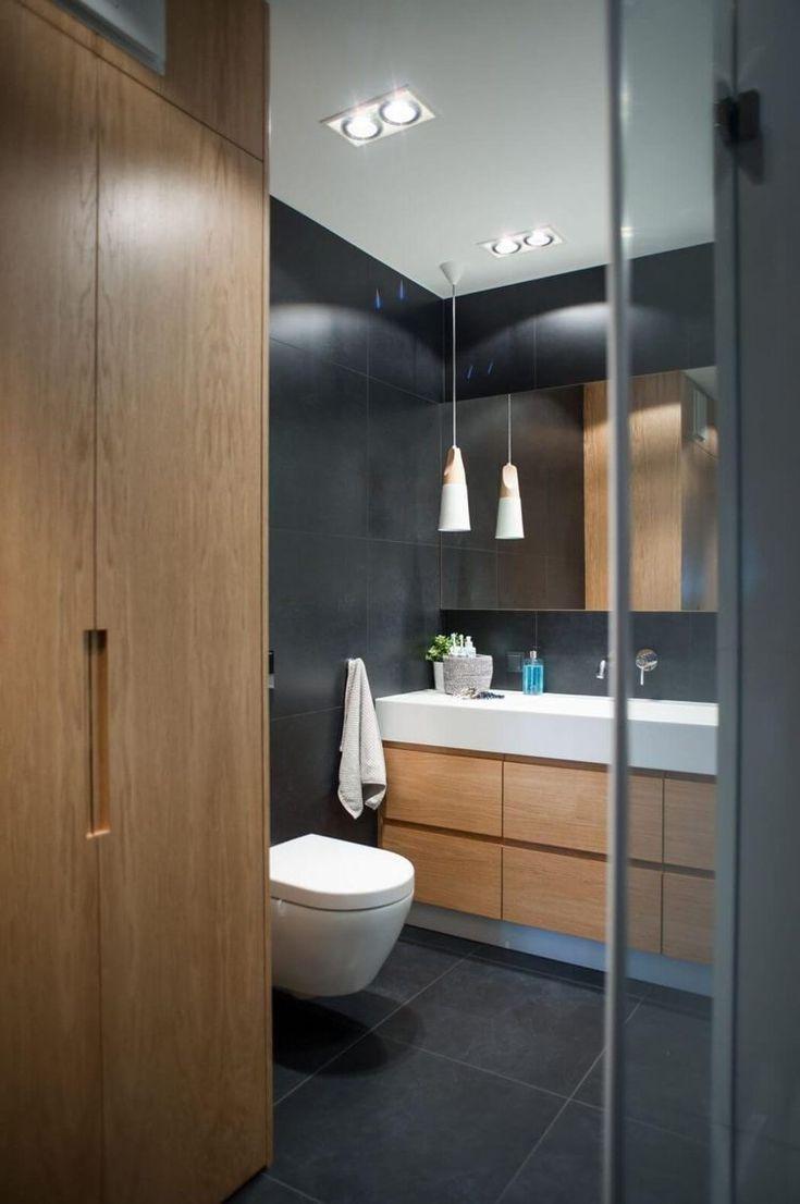 14 Farbe Grau Und Holz Gemutliche Moderne Wohnung In Polen Eintagamsee Holz Parkett Im Badezimmer Badezimmer Design Moderne Wohnung Badezimmer Schwarz