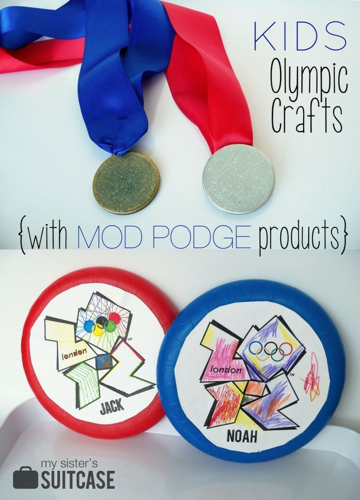 Kids Olympic Crafts - DIY Medals and Discus Throw Frisbees by My Sister's Suitcase  #kidscraft #modpodge