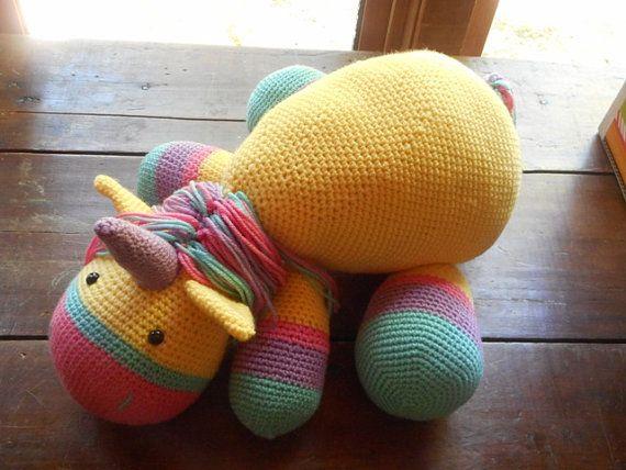 Crochet stuffed unicorn stuffed unicorn toy by HomespunAccessories, $63.00