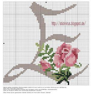 alphabet - e - rose - point de croix - cross stitch - Blog : http://broderiemimie44.canalblog.com/