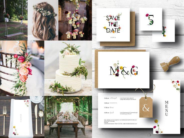 Drukwerk voor een huwelijk met botanisch thema. Stijlvol en chique. Save the date, trouwkaarten, menukaarten, labels, bedankkaarten, kraft. #botanical #classic #stationery #wedding #flowers #leaves #kraft