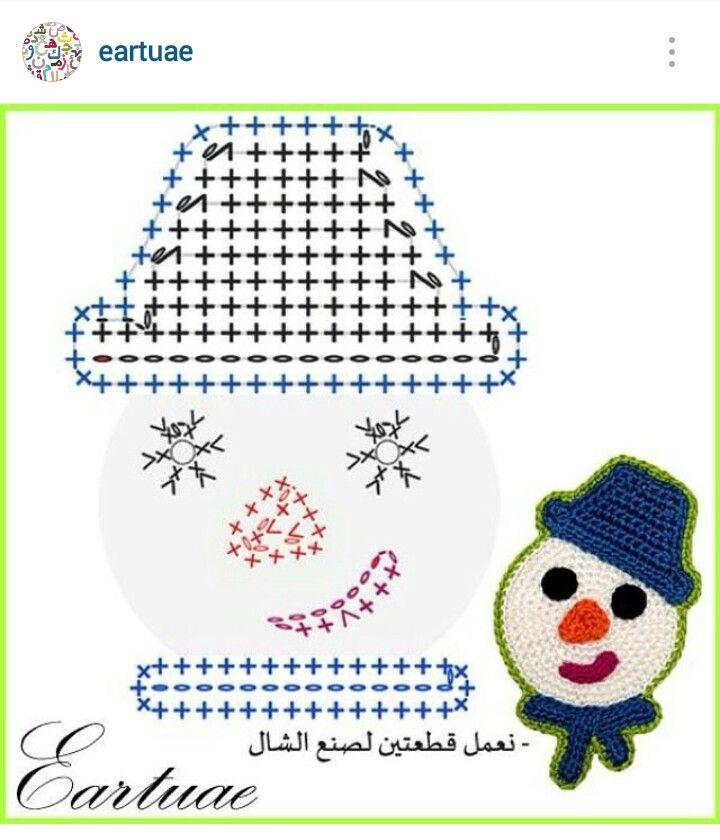 Instagram @eartuae - crochet snowman face applique