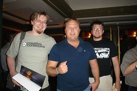Alex Jones and fans at the Première of A Scanner Darkly, a film by Richard Linklater, in which Jones has a cameo[34]