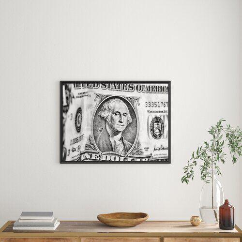Dollar Bill Framed Graphic Art Print East Urban Home Size: 70cm H x 100cm W