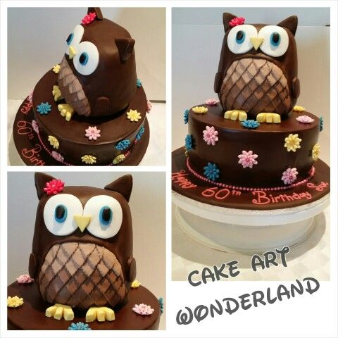 A beautiful Owl themed cake for a 60th Birthday Lady. Both tiers were chocolate mudcake & all decorations are handmade.
