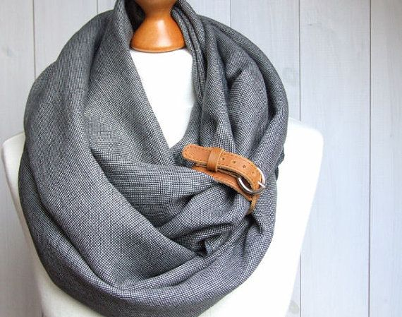 Chunky LINEN Infinity Scarf tube scarf with cuff, pure linen scarf, plaid scarf