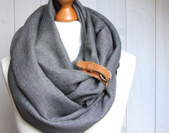 Chunky écharpe tube de linge Infinity écharpe avec brassard, écharpe lin pur, foulard à carreaux