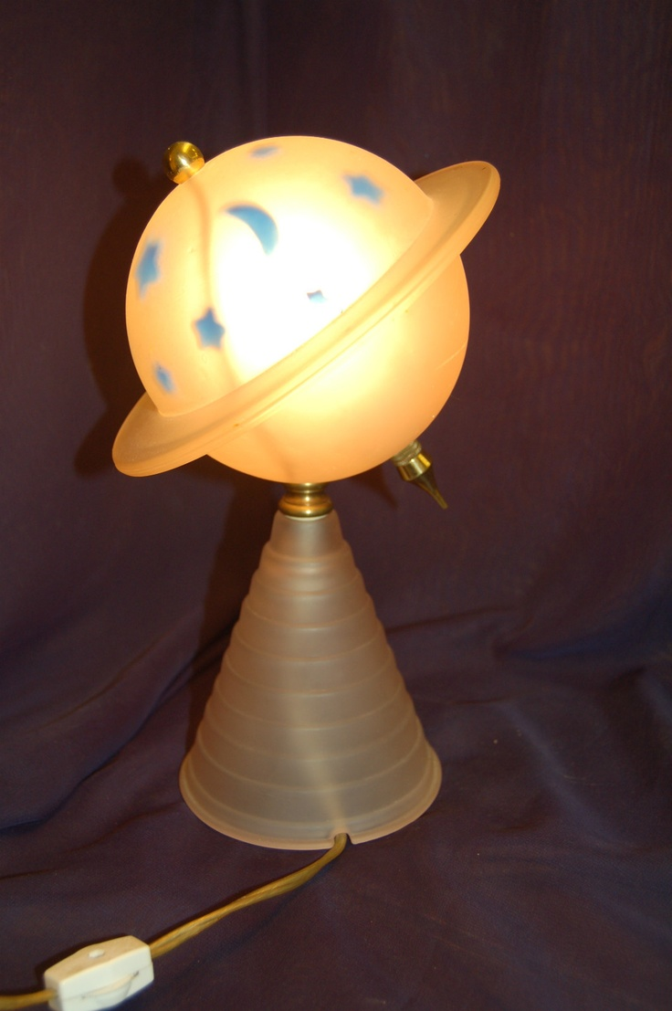 Worlds fair art deco saturn lamp pink frosted glass w blue moons stars