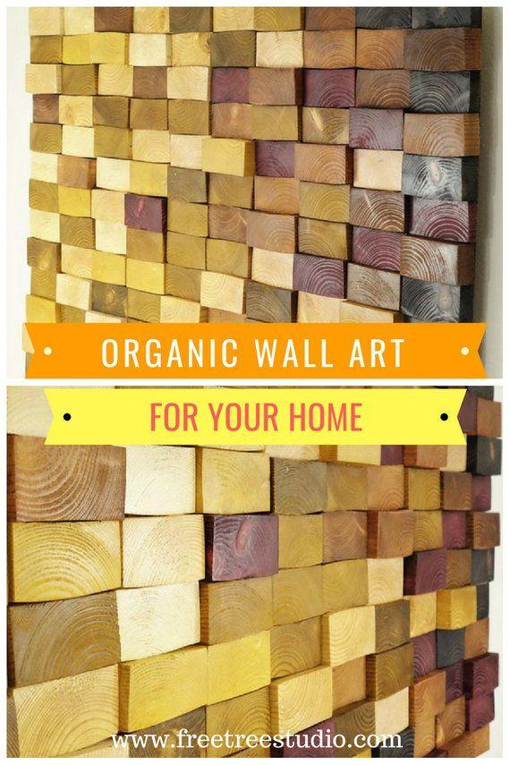 Wooden Mosaic Decor Modern Wood Wall Art Organic Wall Art