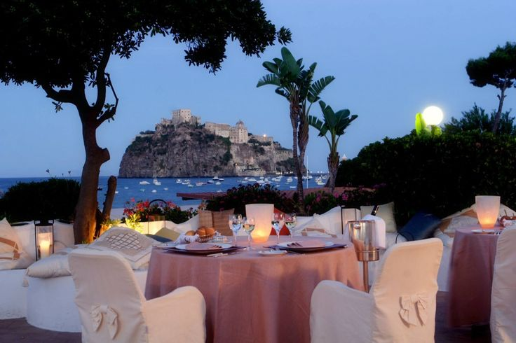 Beautiful view of Procida Island from Punta Molino Beach Resort & Spa - Congress center in the island of Ischia, near Naples