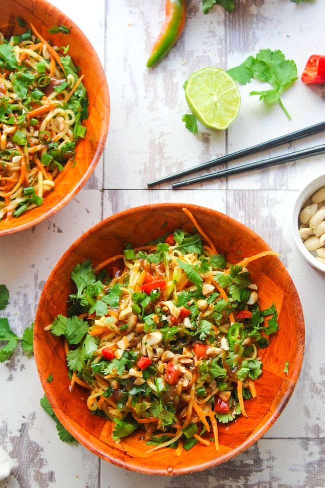 Veggie Pad Thai Salad with a sweet and savory peanut dressing - ready in 15 minutes or less. This spicy noodle bowl uses julienned zucchini in…