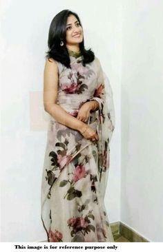259048ea7d Buy Bollywood Model pure organza digital print Grey saree in UK, USA and  Canada