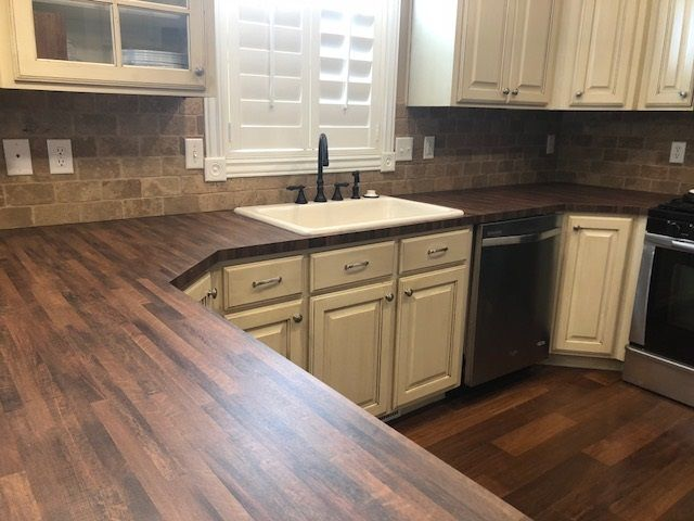 I Just Redid My Kitchen Countertops Wilsonart Old Mill Oak Formica I Love It Also Replaced The Sink Countertop Remodel Kitchen Plans Kitchen Countertops