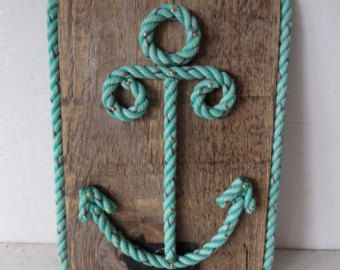 Reclaimed Wood with Rope Shaped Anchor Nautical Decor Wall Hanging Sign Nautical Nursery
