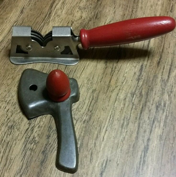 Vintage Rustic Red Wood Handle Kitchen Tool Knife Sharpener Ax Axe Cookie Cutter