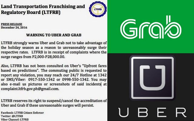LTFRB warns both UBER and GRAB Taxi services due to overpricing fare rate complaints by passengers