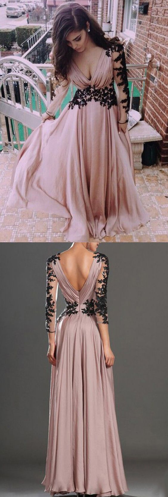 Deep V neck Prom Dress Fashion Long Sleeves Appliques Black And Pink Chiffon Prom Dress - Thumbnail 1