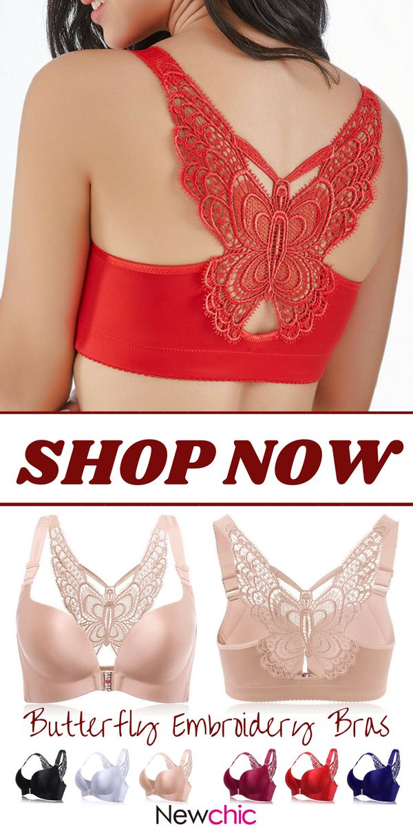 5945c253fae84  US 19.99 Butterfly Embroidery Front Closure Wireless Adjustable Gather  Soft Bras  butterfly  embroidery  frontclosure  adjustable  gather  soft   bras   ...