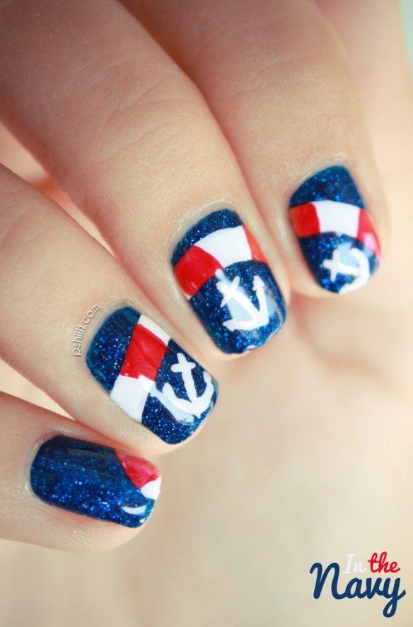 nautical anchor red white blue