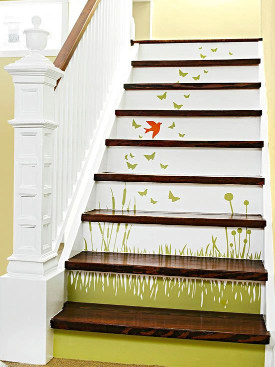 Scene-Setting Staircase: For a more detailed look using decals, try a mural decal on your staircase. Mask the treads with painter's tape and paint the risers in your desired color. Remove the tape before the paint dries completely. Measure the risers and cut decals to the size needed to fit on each riser. Adhere the decals according to the manufacturer's instructions. (Wait until the paint is completely dry to adhere the details.) If desired, apply clear sealer to protect the decals.
