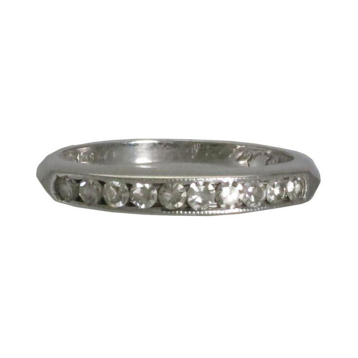 Art Deco Platinum & Diamond Anniversary Band Ring, c. 1920s. $1600
