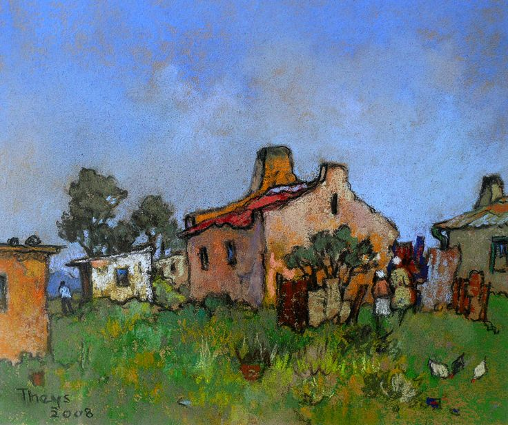 Sold|Theys, Conrad | The yellow house | Pastel | Size : 250 x 305mm | Code : 9789