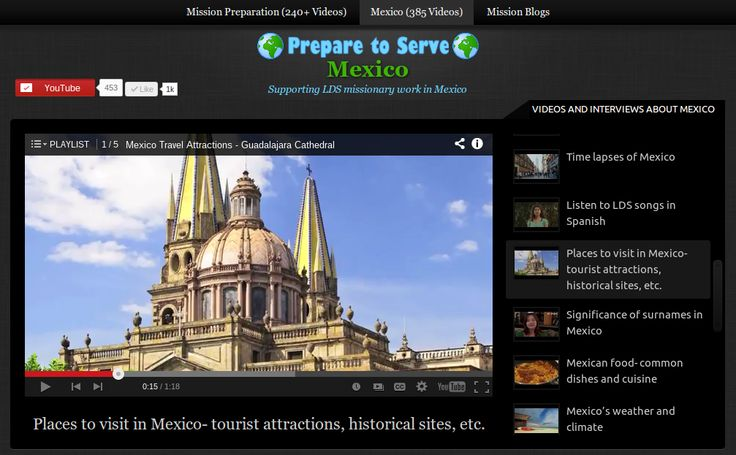 A collection of LDS-friendly travel videos about Mexico: the culture, food, wildlife, weather, history, LDS Church, etc.