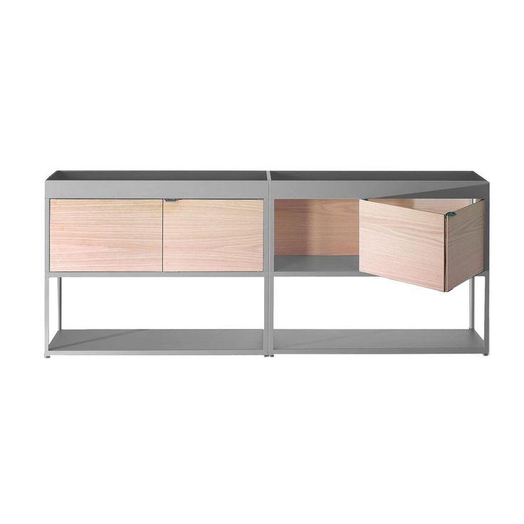 HAY - New Order Regal/Sideboard 200x79.5cm - hellgrau/esche/mit 2 Holztüren