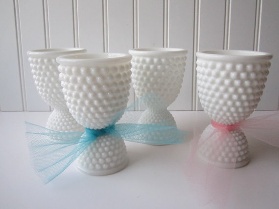 Vintage Westmoreland Milk Glass American Hobnail Double End Egg Cups