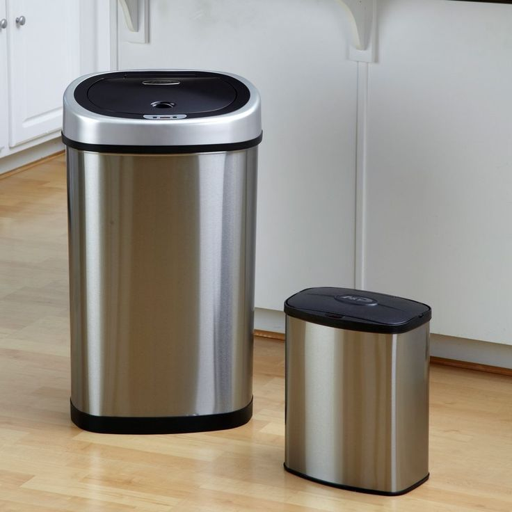 Touchless Trash Garbage Can Automatic Motion Sensor Stainless Steel Set Of  2 New