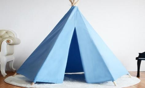 Blue Large Cotton Canvas Kids Honeycomb Teepee Tent by All 4 Kids